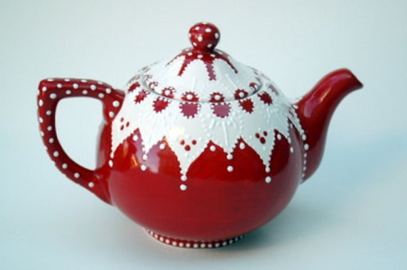 Victorian Red Teapot
