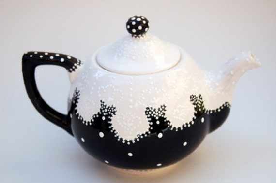 Whimsical Victorian Styled Black And White Teapot