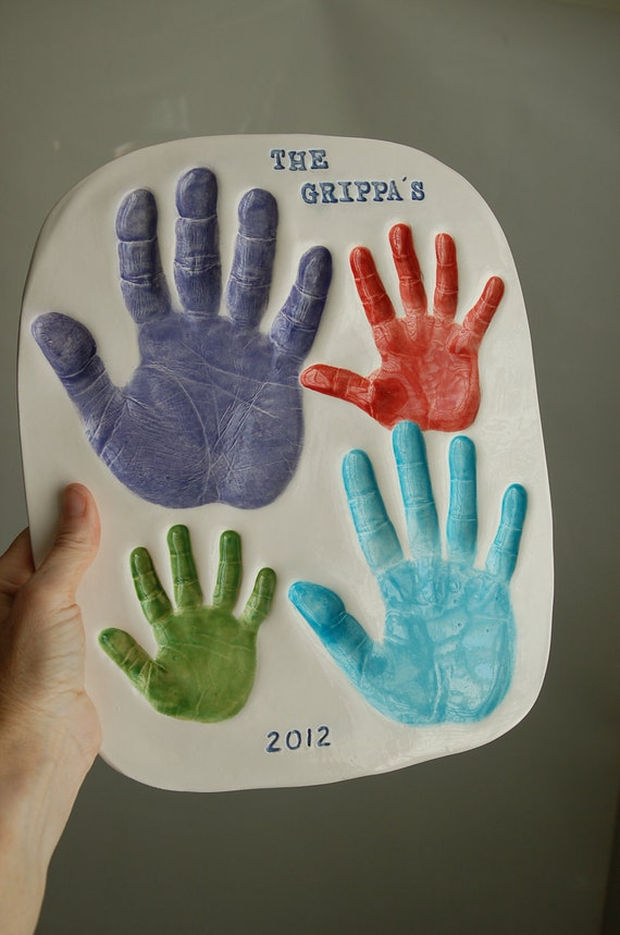 Items similar to hand prints of the family with four hands for Crafts with hands