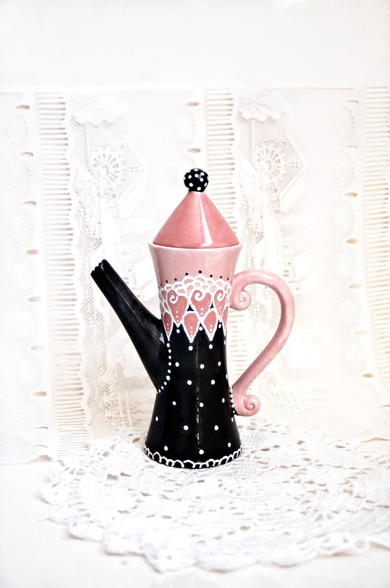 Whimsical Victorian Teapot in Black, Pink and White