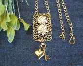 Vintage Re-purposed Gold Shoeclip Pendant with Crystals