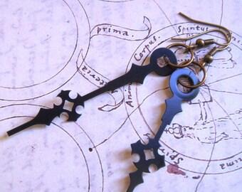 Steampunk Earrings - Black Cross Clock Hands