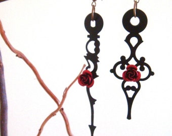 Large Black Victorian Clock Hand Earrings with Red Rose
