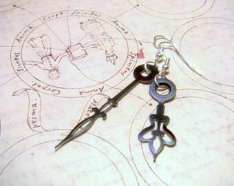 Dainty Steampunk Clock Hand Earrings