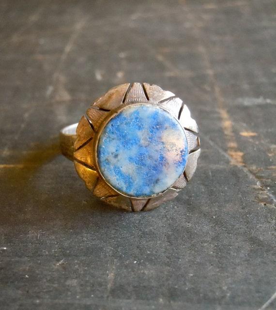 20's Ring, Deco Lapis, Sterling,Art Deco Design, Flapper, Size 5