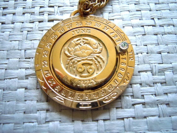 RESERVED Pierre Cardin Necklace/ 1970's Zodiac Sign, Cancer Birth month, Gold 70's Medallion