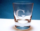 2  Old Fashioned Glasses - Personalized Initial