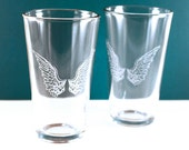 1 Angel Wings Etched Pint Glass