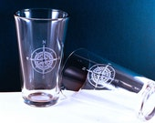 4 Compass Etched Pint Glasses