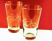 1 Bicycle Etched Pint Glass