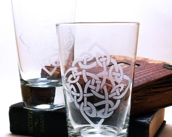2  Highball Glasses - Celtic Diamond