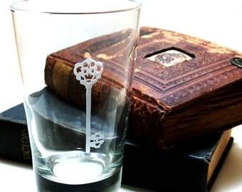 2  Highball Glasses - Skeleton Key