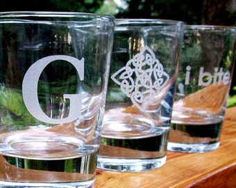4 - Etched Old Fashioned Glasses - Your Choice