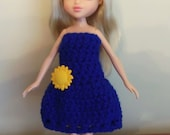 Blue dress with sunflower for Moxie Girlz and Bratz dolls
