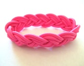 Hot pink braided sailor bracelet, fits small to medium wrists, stretchy