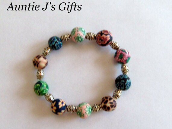Beaded bracelet, Fimo, silver, 7.5 inches