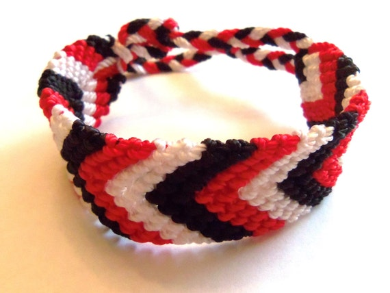 Red, white and black knotted friendship bracelet