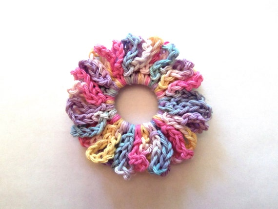 Pastel hair scrunchie, ponytail holder, cotton, crocheted