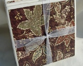Rustic Brown Leaf and Butterfly Handmade Tile Coasters, Set of 4 Nature Beverage Coasters