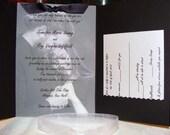 Pocketfold Wedding Invitation with Photograph & Vellum Overlay - Custom, Ribbon, Black, White, Metallic