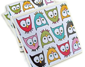 Fun and Funky Owls Handmade Tile Coasters, Set of 4 Drink Coasters