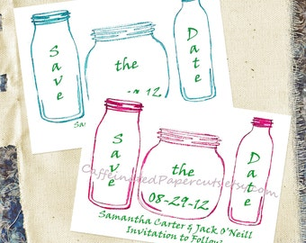 Mason Jar Printable Save the Date in Your Wedding Colors Custom DIY Country Rustic