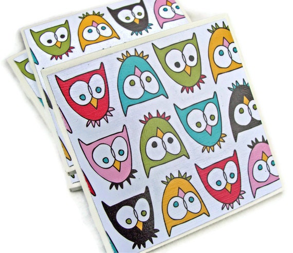 Items Similar To Fun And Funky Owls Handmade Tile Coasters