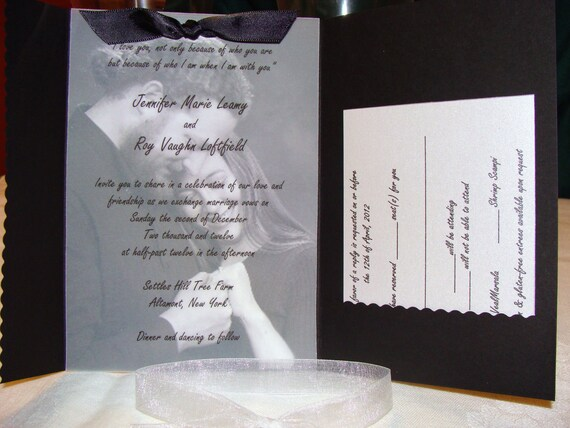 items similar to pocketfold wedding invitation with