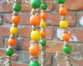 Macrame Plant Hanger with Yellow ORange and Green Beads