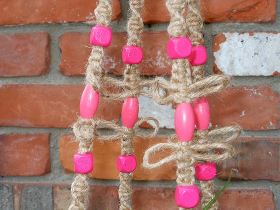 RESERVED FOR ANNE Macrame Plant Hanger with PiNk bEaDs