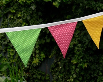 Fabric Bunting/Banner/Flags, Rainbow Brights