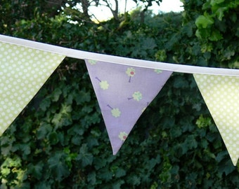 Fabric Bunting/Flags/Banner Purple/Green Dots