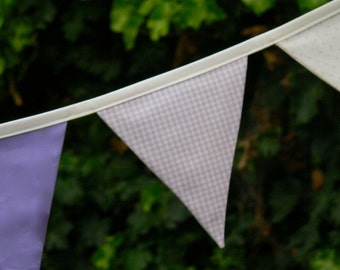 Fabric Bunting/Banner/Flags Lavender and White