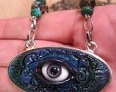 Glass German Eye Polymer Amulet Necklace