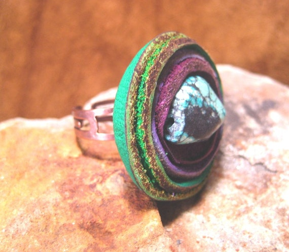 Colorful Turquoise and Leather Ring on Copper