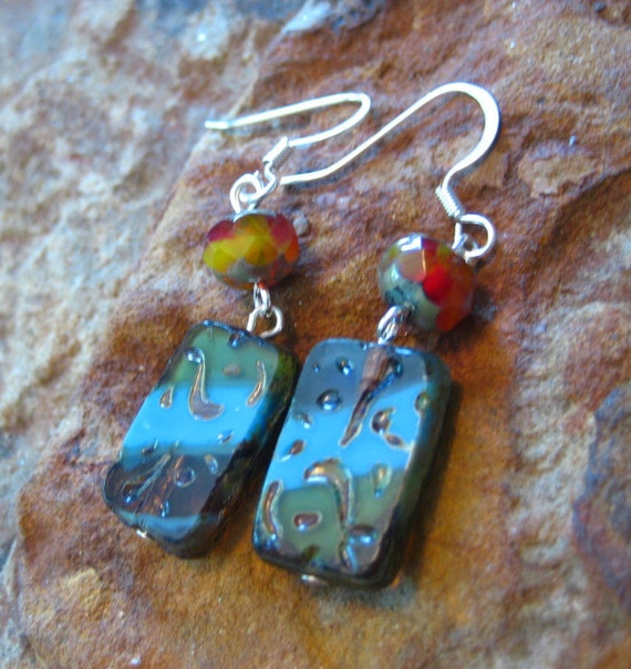 Blue and Orange Czech Etched Glass Bead Earrings