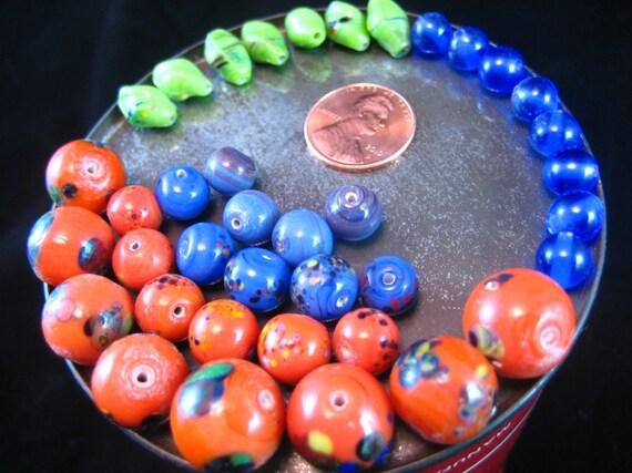 70's Vintage Orange Lime and Blue Glass Bead Destash