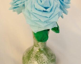 Paper Flowers - 3 Handmade Short Stem Baby Blue