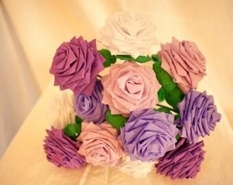 Paper Flowers Bouquet - Dozen (12) Long-stem Mixed Purple and White
