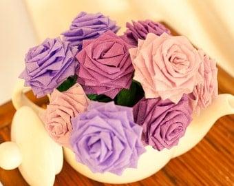 Paper Flowers Bouquet - 9 Short-stem Mixed Purple