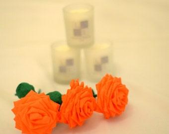 Paper Flower Bouquet - 3 Short-stem Orange