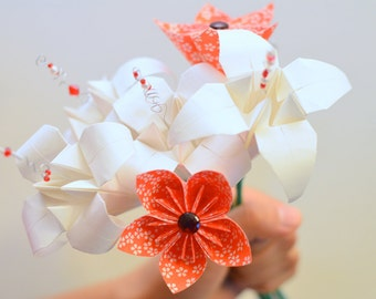 Paper Flower Bouquet: Origami Lilies and Japanese Kusudama Paper Flowers Handmade