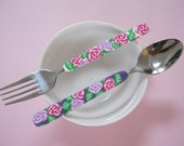 Millefiori spoon and fork