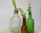 Trio of Antique Glass Bottles
