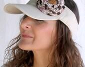 Sporty Chic Visor - Beige with Handmade Fabric Flower