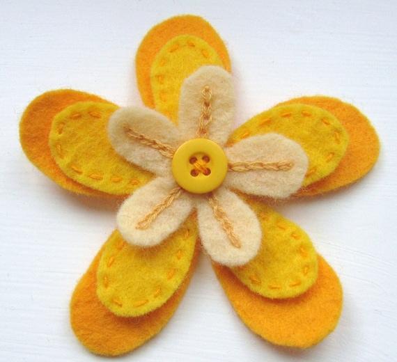 Felt Flower Brooch - Orange and Yellow