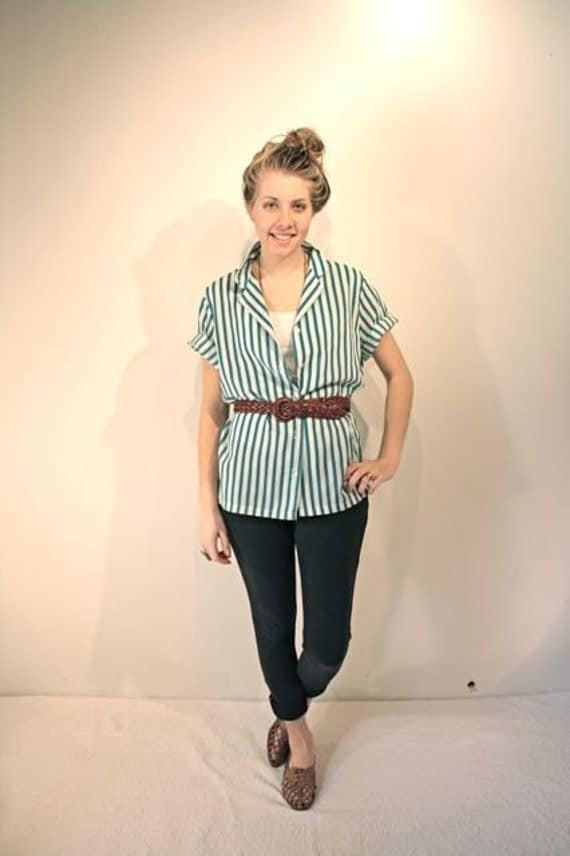 Teal and white striped 80s button up shirt