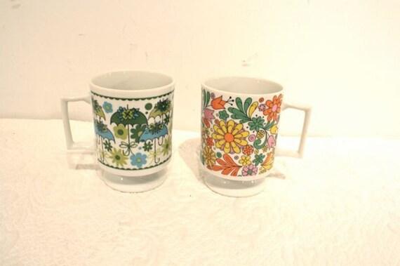 60s glass mugs flower power umbrellas
