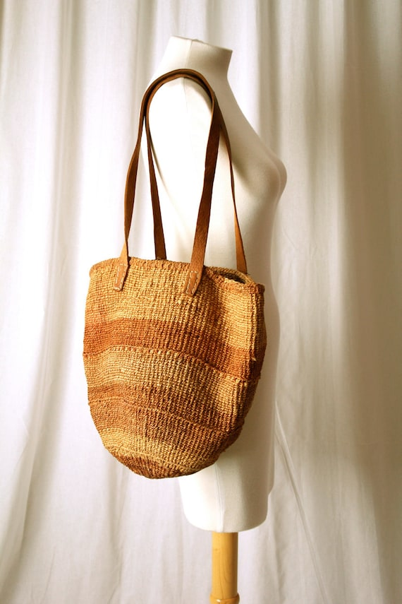 woven straw brown farmers market bag