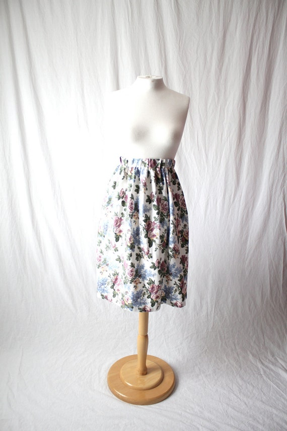 90s floral pattern cotton skirt size large